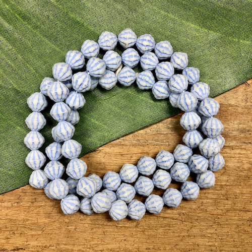 Blue & White Striped Beads - 75 Pieces
