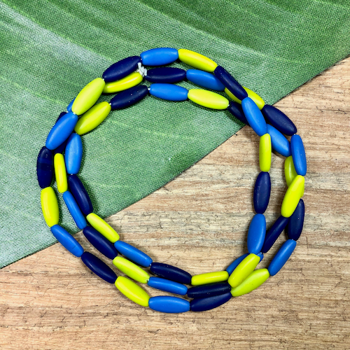 Blue & Yellow Tube Beads - 50 Pieces