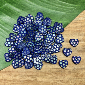 Blue Spotted Heart Pendants - 50 Pieces
