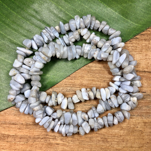 "Blue Lace Agate Chips - 31"" Strand"