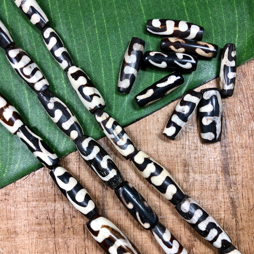 Polished Bone Beads - 12 Pieces