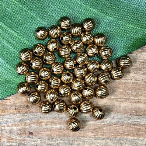 8mm Brass Round Beads - 50 Pieces