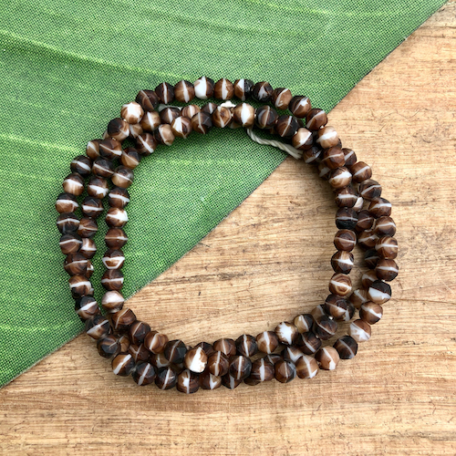 Tiny Brown and White Beads - 125 Pieces