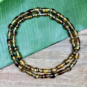 Amber Beads with Brown Stripes - 50 Pieces