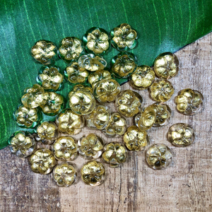 Gold Glass Cabochons - 10 Pieces