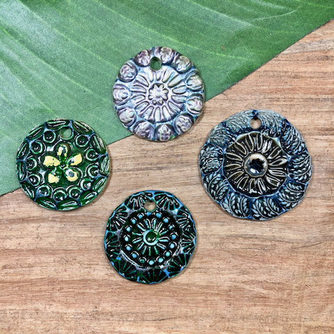 Ceramic Disc Pendants - 4 Pieces