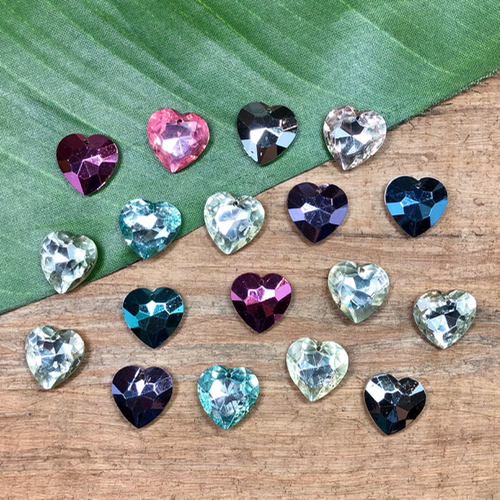 Colorful Crystal Hearts - 9 Pieces