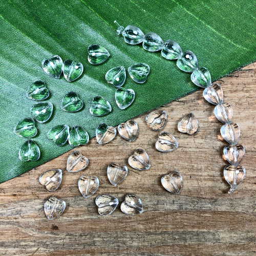 Faceted Crystal Hearts - 9 Pieces