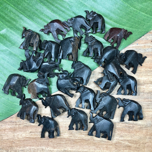 Wooden Elephant Beads - 13 Pieces