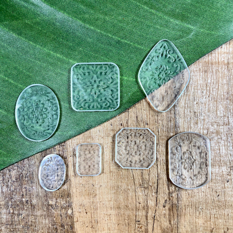 Vintage Etched Glass Cabochons - 25 Pieces