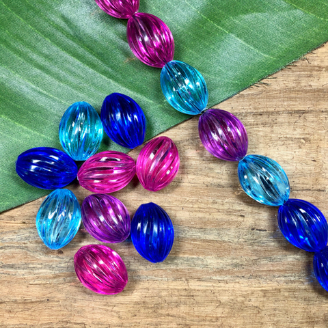 Colorful Melon Beads - 9 Pieces