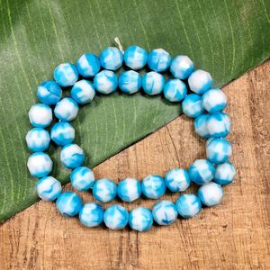 Blue & White Faceted Beads - 40 Pieces