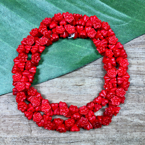 Red Flower Drop Beads - 150 Pieces