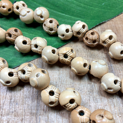 Funky Wood Round Beads - 11 Pieces
