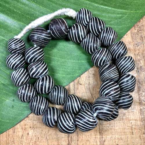 Black Striped Rondelle Glass Beads