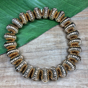 Brass Ribbed Melon Beads - 25 Pieces