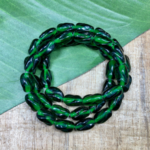 Green Twist Rectangle Beads - 40 Pieces