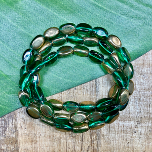 Green and Gold 3 sided Oval - 50 Pieces