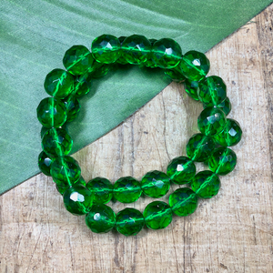 Green Faceted Rounds - 35 Pieces