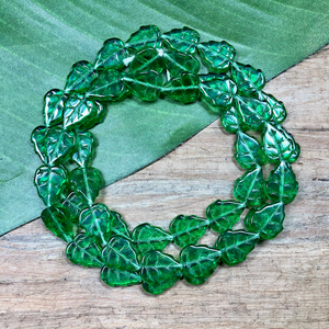 Green Flat Leaf Beads - 50 Pieces