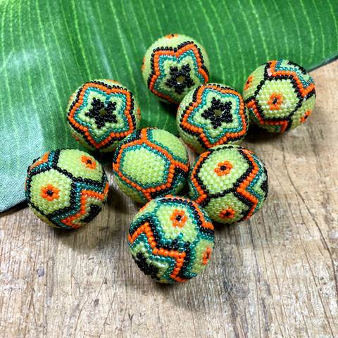 Green, Orange & Black Beaded Beads