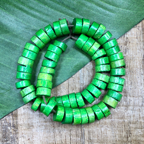Green Rondelle Beads - 60 Pieces