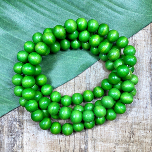 Round Green Wood Beads - 100 Pieces