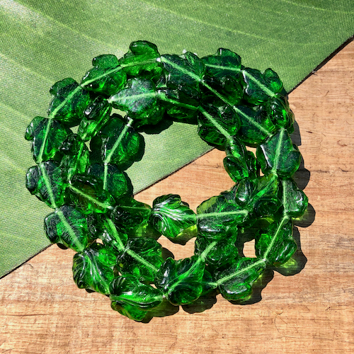 Green Textured Leaf Beads - 40 Pieces
