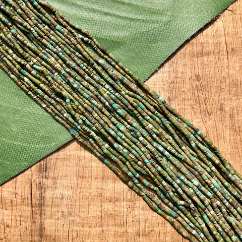 Green Turquoise Heishi Strands - 1 Strand