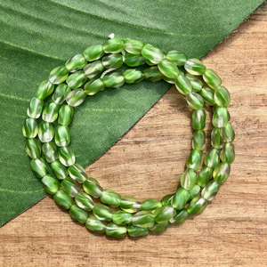 Green Twisted Rectangle Beads - 75 Pieces