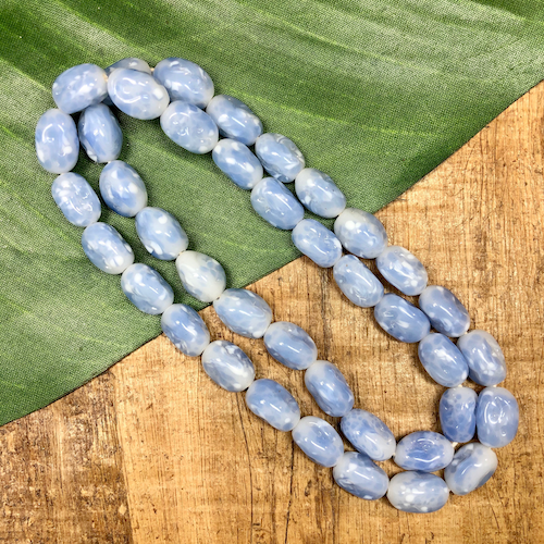 Icy Blue Ovals - 40 Pieces