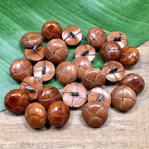 Light Brown Leather Shank Buttons - 10 Pieces