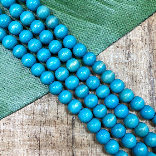 Round Light Blue Wood Beads - 100 Pieces