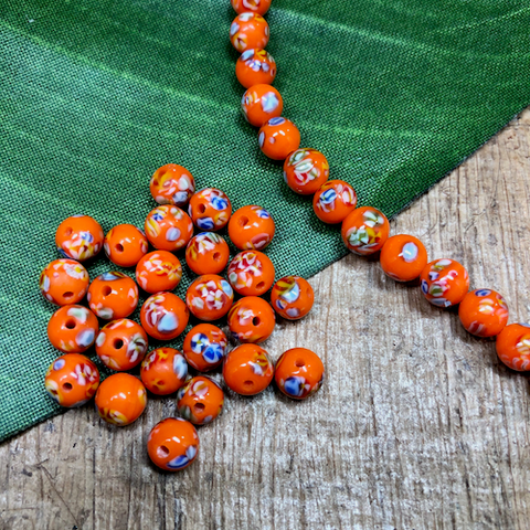 Orange Flower Tombo Beads - 50+ Pieces