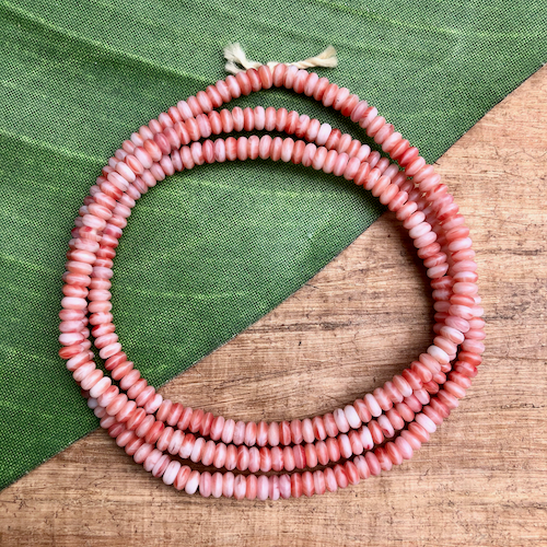 Small Reddish Orange & White Disc Beads - 300 Pieces