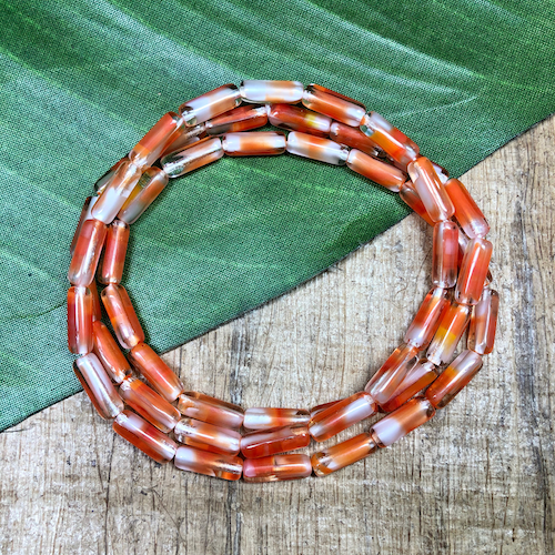 Orange, White, & Clear Tube Beads - 50 Pieces