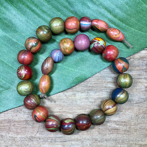 Colorful Painted Wood Beads - 20 Pieces