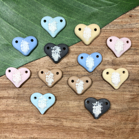 Ceramic Floral Hearts - 3 Pieces