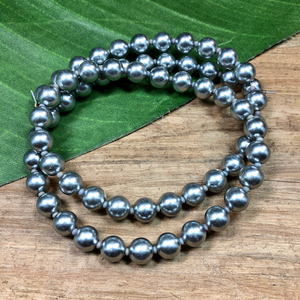 Gray Plastic Round Beads - 60 Pieces