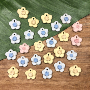 Small Porcelain Flower Pendants - 5 Pieces