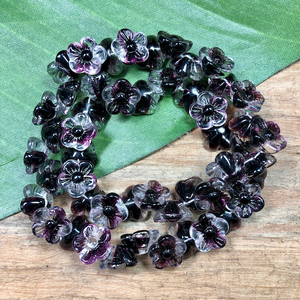 Purple & Clear Flower Beads - 50 Pieces