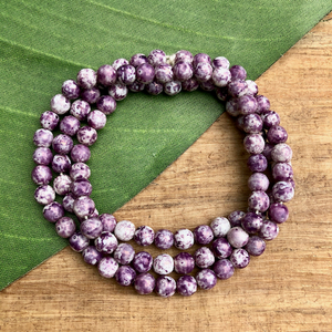 Purple & White Round Beads - 100 Pieces
