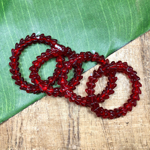 Red Flower Beads -100 Pieces