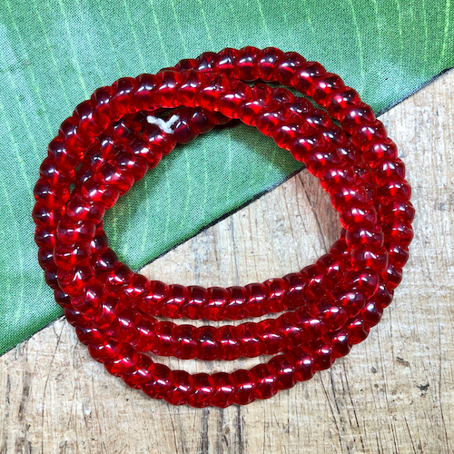 Red Snake Bead Glass - 125 Pieces