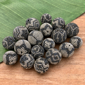 Gray & Silver Metallic Beaded Beads