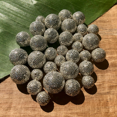 Silver Cut Metal Metallic Beaded Beads