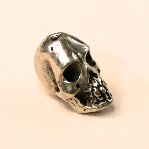 skull bead white brass 12mm