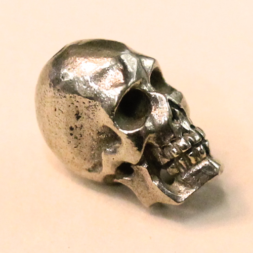 skull bead white brass 16mm