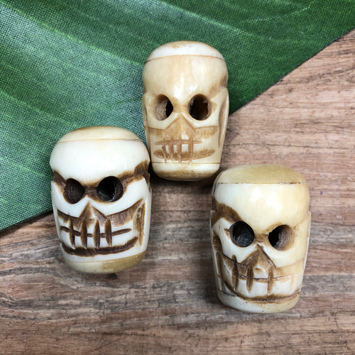 Bone Skull Beads - 3 Pieces