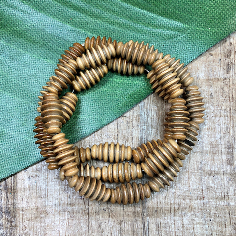 Tan Beehive Oval Beads - 30 Pieces